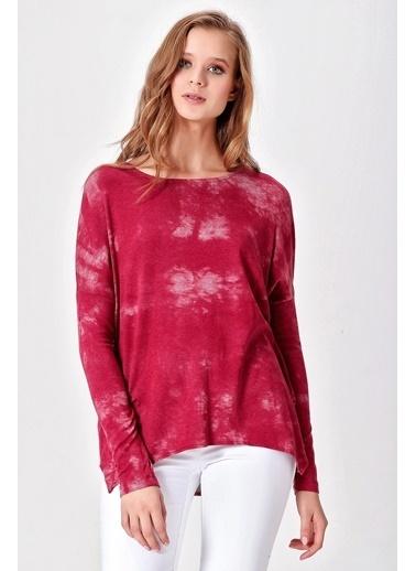 Jument Tencel Batik Geniş Sıfır Yaka Uzun Kol Tunik Kırmızı